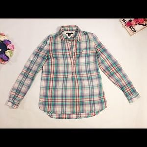 Tommy Hilfiger Shirt Checked Buttoned Blue Top XS